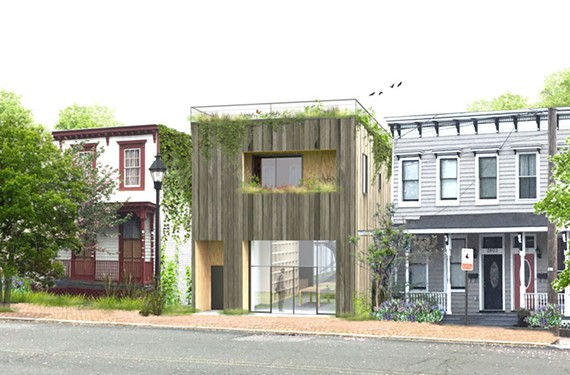 Edwin Baruch's entry in Historic Richmond's juried infill design competition employs recycled wood and a rooftop garden.