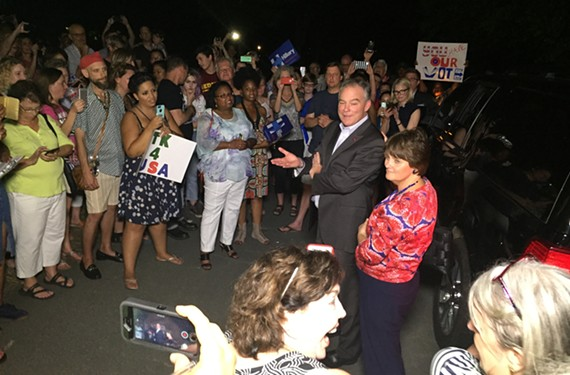 An impromptu Saturday night rally in Laburnum Park welcomes home Hillary Clinton's vice-presidential pick, Sen. Tim Kaine, and his wife, Anne Holton.