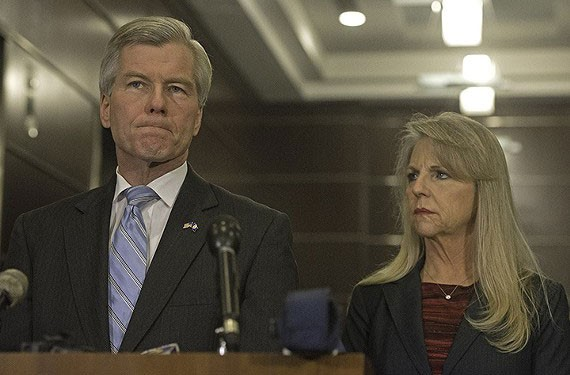 Bob and Maureen McDonnell at a press conference in the lobby of Williams Mullen, January 2014.