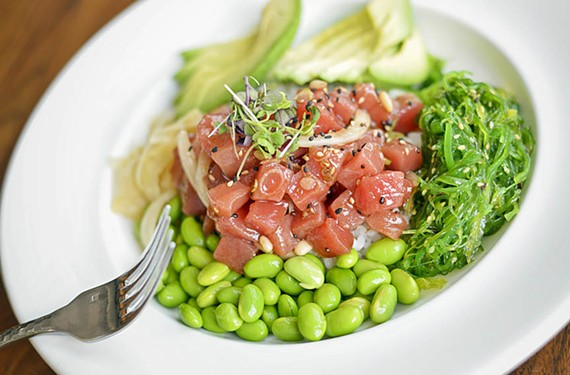 You'll feel like you hit the jackpot when you try the tuna poke bowl, with marinated tuna, pitch-perfect seaweed salad, edamame and avocado atop a bed of sticky rice with pine nuts, yellow onion and wasabi dressing.