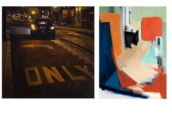 "Left: Steve Walker, ""The Only Way"" at Glave Kocen Gallery. Right: Peri Schwartz, ""Studio XXIX' at Page Bond Gallery"