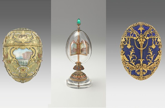 From left to right: Imperial Peter the Great Easter Egg, Imperial Rock Crystal Easter Egg and Imperial Tsesarevich Easter Egg.