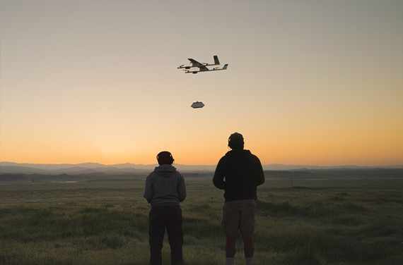 Project Wing tests a cargo-toting drone in California.
