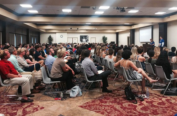 The It Ends Now event at the University of Richmond began with a full room in the Tyler Haynes Commons, but later much of the crowd walked out.