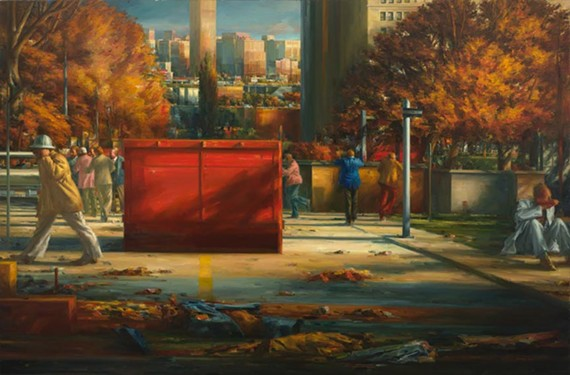 "The ominous ""Street Scene Autumn"" by Sidney Goodman hangs in the VMFA in the Sydney and Frances Lewis galleries."