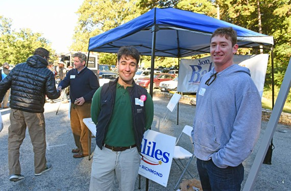 Ian McDermott and Charlie Hale campaign with Jon Baliles at the South of the James Market on Saturday morning.