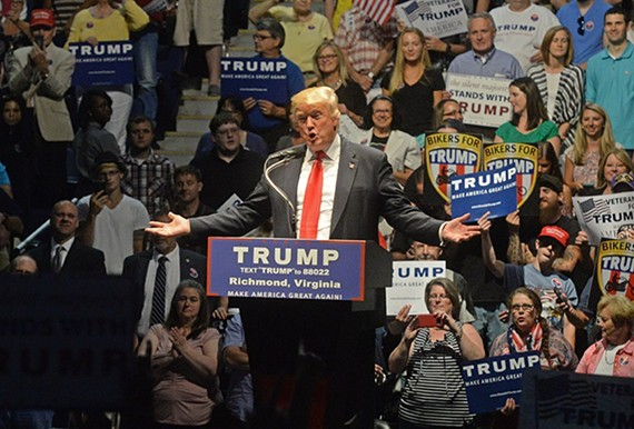 Donald Trump at a June 10 rally at the Richmond Coliseum.