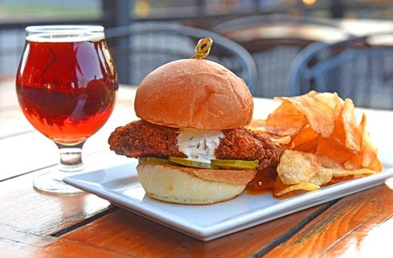 An amber ale such as South Street Satan's Pony cools down the heat from the Nashville Hot Bird sandwich at Union Table and Tap.
