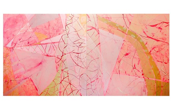 """""""In the Pink"""" (2016) and (below) """"February Blue"""" (2016) are two works featured in artist Sally Bowring's """"Weather Report"""" show. She was recently named interim director of painting at Virginia Commonwealth University."""