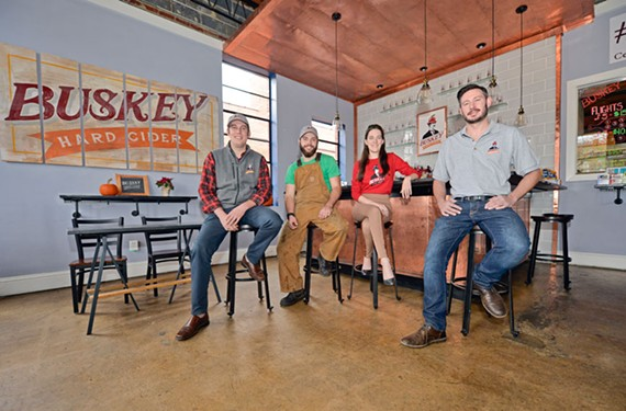 Will Correll, Alec Steinmetz, Elle Street and Ben Ford are keeping things interesting at Buskey Cider with  constant experimentation and creative collaborations.