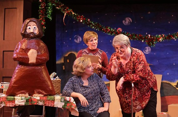 "Debra Wagoner (seated) as Lorraine, Jan Guarino as Tina and Catherine Shaffner as Beatrice in Virginia Rep's ""The Charitable Sisterhood Christmas Spectacular."""