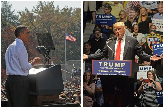 Left: An Obama rally in Richmond in 2012. Right: A Trump rally in Richmond in 2016.