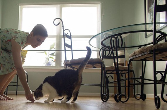 Freeda Steele with her cat Frankie at her home in Chesapeake. Steele wants to open a cat cafe in the area.