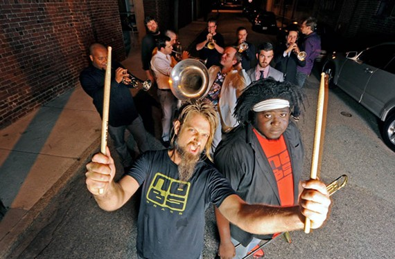 No BS Brass Band plays Lamplighter Coffee at noon, Dec. 31.