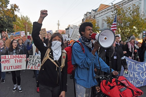 "Protestors from the ""Richmond Grabs Back"" march in November 2016."