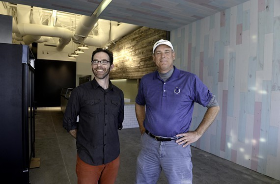 Gelati Celesti owner Steve Rosser (right) with designer Peter Fraser (left) during the construction of the ice cream shop's Short Pump location.