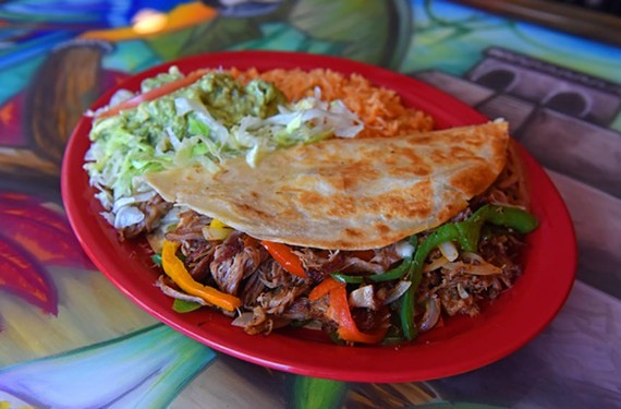 Mi Jalisco's quesadilla Mexicana showcases a solid amount of shredded pork, silky sautéed onions and a fajita-style medley of peppers.