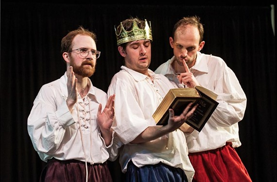 "Actors Dixon Cashwell, C.J. Bergin and Joseph Bromfield use their own names while embodying character types in ""The Compleat Wrks of Wllm Shkspr: Abridged."""