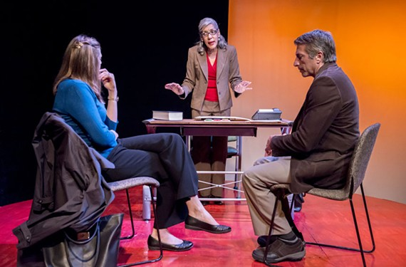 "Parents Alex (Heather Falks) and Greg (Fred Iacovo) discuss their son with counselor Judy (Nancy Callaway) in ""A Kid Like Jake"" at the Richmond Triangle Players."