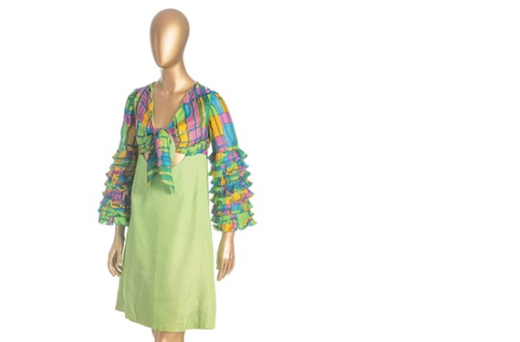 A gypsy cocktail dress from 1970 by Sandra Kemp, the first woman to graduate from Virginia Commonwealth University's fashion design program.