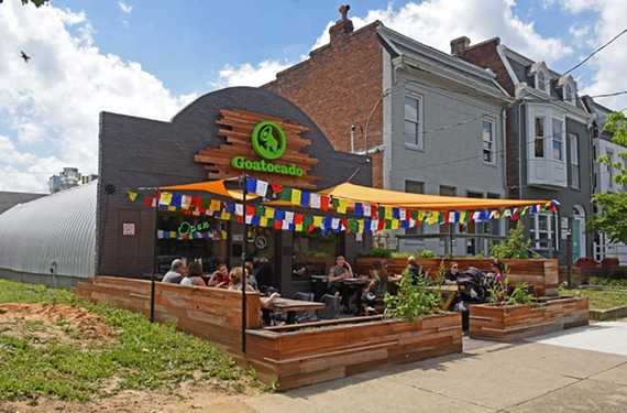 Goatocado's patio is expansive and a popular hangout for the lunch crowd.