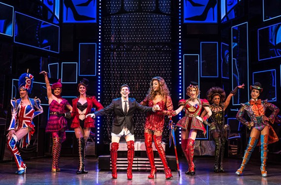 "Based on a British film, the Tony-Award winning musical ""Kinky Boots"" features Curt Hansen, center, as Charlie in the touring production. The lauded music and lyrics for the show were written by '80s pop star and activist Cyndi Lauper."