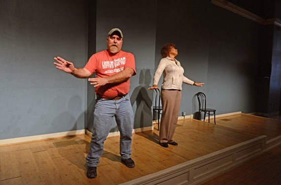Participants act as a married couple on vacation in Hawaii during a Coalition Theater improvisation comedy boot-camp class.