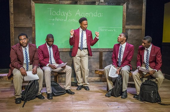 "Pharus (played by Jamar Jones, center) tries to pull his fellow choir members (Akiel Baldwin, Jay Banks, Keaton Hillman and Elijah Jefferson) together in harmony in Tarrell Alvin McRaney's play ""Choir Boy,"" produced by Richmond Triangle Players in collaboration with the Heritage Ensemble Theatre Company, as a part of Richmond's Acts of Faith festival."