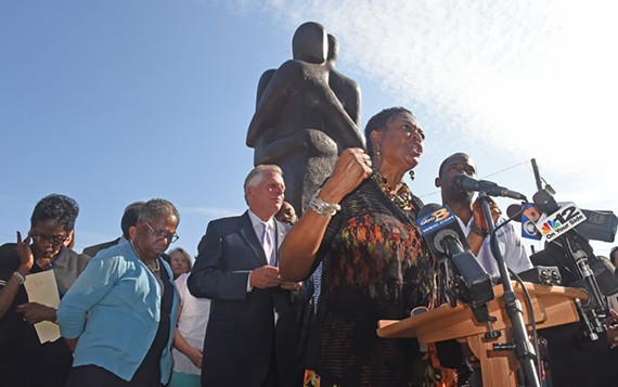 Virginia Rep. Dolores McQuinn, along with Gov. Terry McAuliffe, Richmond Mayor Levar Stoney, and local faith leaders spoke at a rally in Shockoe following the violence in Charlottesville on Aug. 12.