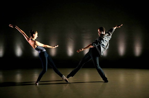 "Abi Goldstein and Thomas Ragland perform in Richmond Ballet's ""Swipe."""