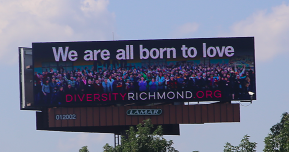 "Diversity Richmond is running an updated version of its ""We are all born to love"" billboard."