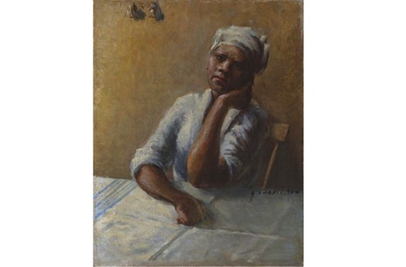 "Artist Edwin A. Harleston's ""Untitled"" is featured in ""A Special Kind of Soul: the Historic Barnett Aden Gallery and Its Artists"" at the Black History Museum and Cultural Center of Virginia."
