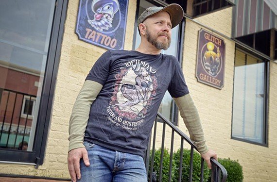 Tattoo artist Jesse Smith of Loose Screw Tattoo on Cary Street is one of two principal organizers of the 25th annual Richmond Tattoo and Arts Festival held this weekend.