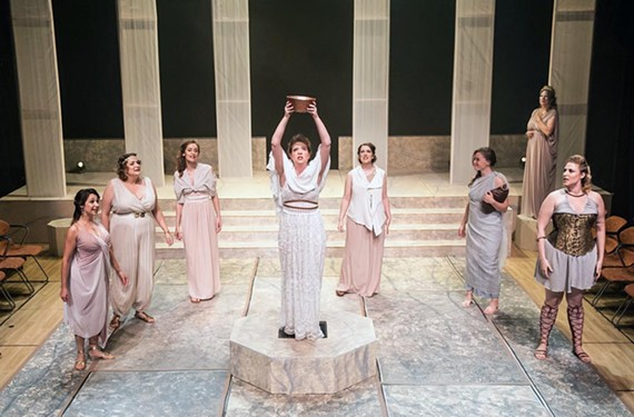 "Rachel Rose Gilmour, Maggie Bavolack, Katherine S. Wright, Grey Garrett, Amanda Durst, Terrie Elam, Melissa Johnston Price and Addie Barnhart in the classic Greek comedy ""Lysistrata,"" in which the women withhold sex from men."