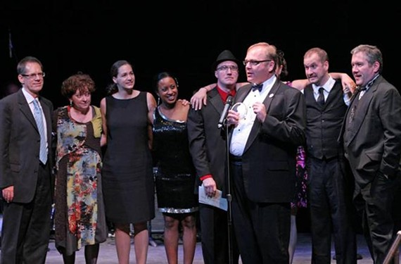 "The cast of the Richmond Triangle Players' ""This Beautiful City"" accepts the first-ever people's choice award, selected through $5 apiece votes at the Artsies."