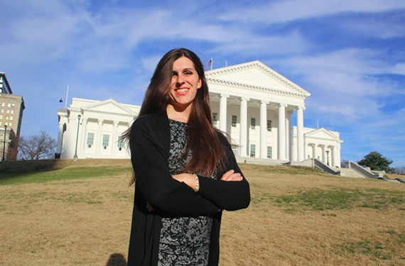 Danica Roem stands at the Virginia State Capitol after announcing her candidacy for the House of Delegates.