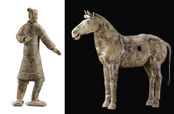 This standing archer, from the Qin dynasty (221 – 206 B.C.), is earthenware excavated from a pit at Emperor Qin Shi Huang's mausoleum in 1997 (left). A cavalry horse of earthenware also was excavated from Qin Shi Huang's mausoleum in 1977 (right).