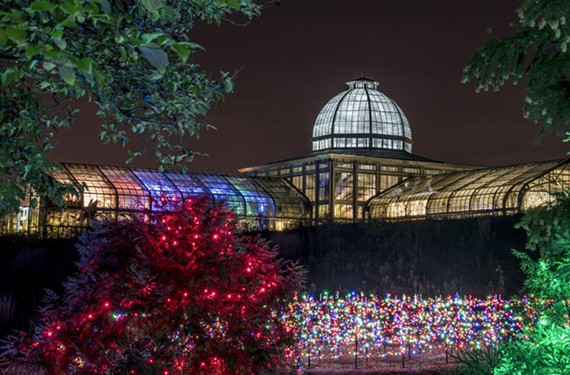 It takes a lot of work by hundreds of volunteers installing 16,000 lights in nearly a year, but Lewis Ginter's light maze and Conservatory at sunset is are sights to behold as part of the Dominion Energy GardenFest of Lights.