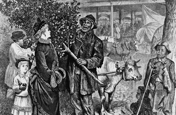 Purchasing Virginia evergreens at the 17th Street Farmers' Market is Richmond's oldest secular holiday rite.  On Christmas Day in 1875, Harper's Weekly magazine featured this illustration of the market by Richmond artist W.L. Sheppard.