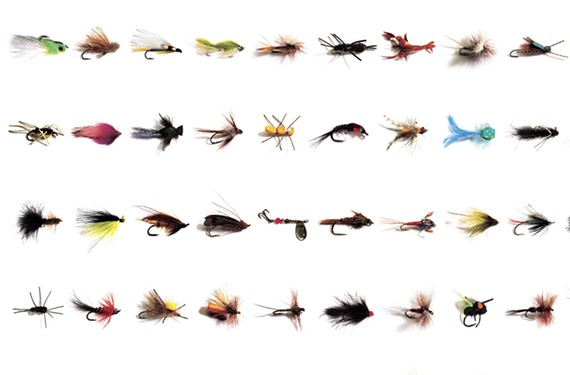 "More than 200 stunning flies selected by anglers from all walks of life are featured in the new book ""America's Favorite Flies."" Richmond photographer John Henley photographed the flies, with design by Rob Carter — who also fashioned this visual excerpt into award-winning wrapping paper. The book, by Carter and John Bryan, is out this month."