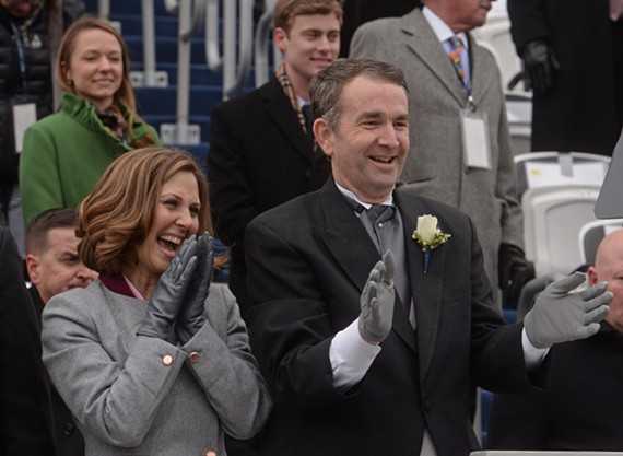 Governor Ralph Northam and First Lady Pam Northam at Saturday's inauguration in front of the Virginia State Capitol.