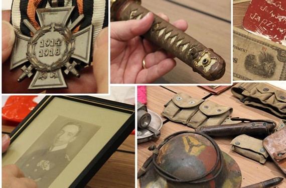 If you have military items, from any period, that you can't identify —you can bring them to the Military Artifacts Roadshow. No ordinance or live munitions, though. Duh.