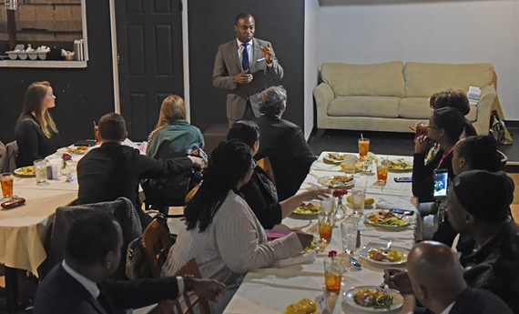"Mayor Levar Stoney hosted a lunch today with a handful of Richmond restaurant owners who support his meals tax at Ms. Girlee's Restaurant (112 N. 5th Street). Sitting in front of the mayor is Bill Pantele, one of the former City Council members who promised the last meals tax raise in 2003 would be ""temporary"" to pay for CenterStage."
