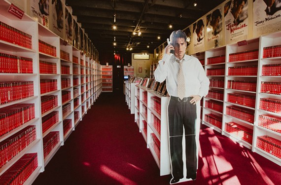 A Jerry Maguire Video Store was opened at iam8Bit Gallery off Sunset Boulevard in Los Angeles for 13 days last year. These and many other Jerry Maguire VHS tapes are being collected to form a pyramid in the Arizona desert.