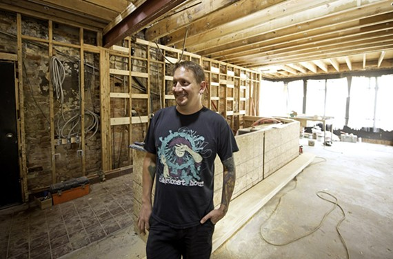 There is a benefit this weekend to help with the recovery fund for guitarist Michael Derks, also known as Balsac the Jaws of Death in Gwar. He's shown here during the building of Gwar Bar in Jackson Ward a few years ago.