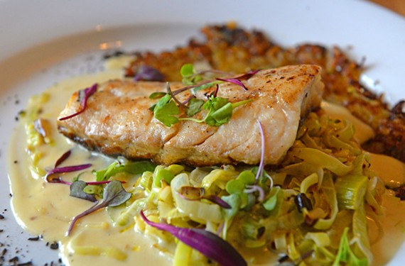 Little Saint serves up local dishes like flounder with creamed leeks, rosti potatoes and ash from charred leeks.
