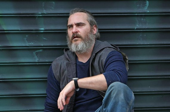 "Looking his burliest, Joaquin Phoenix plays a contract killer who uses a ball-peen hammer to take out pedophile rings in ""You Were Never Really Here"" by Scottish filmmaker Lynne Ramsay (""We Need to Talk About Kevin"")."