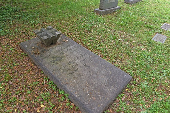 "This is the Wolfe family plot in Hollywood Cemetery where there appears to be space for the legendary author beside his parents, Thomas Kennerly Wolfe and Helen Hughes Wolfe. You'll notice the cross also forms a ""W."""