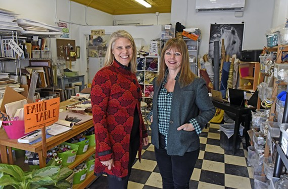 Sara Wilson McKay, chairwoman of the art education department at Virginia Commonwealth University, and Scrap RVA Director Molly Todd stand in the reuse center's new digs at 120 W. Brookland Park Blvd. The nonprofit offers sustainable education programs and is open Tuesdays through Fridays from noon to 6 p.m. and Saturdays from 10 a.m. to 4 p.m.