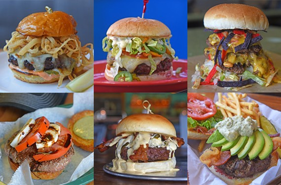 Top row: Sriracha Jack burger at Matchbox; Angry Trent at City Beach; Queso con carne burger at Burgerworks. Bottom row: Caprese burger at the Local Eatery and Pub; Relleno burger at Kreggers Tap and Table; Monkey burger at 3 Monkeys Bar and Grill.